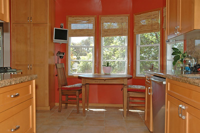 The kitchen has been completely remodeled with custom cabinetry.
