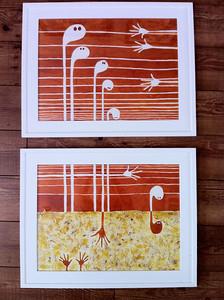 """Starving souls//2- 18""""X24""""/ watercolor original (pair) $1000.00/ giclee` $500.00"""