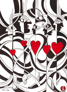"""all we need is love // 22""""x33"""" / watercolor original $1,400.00 / gicllee` $250.00"""