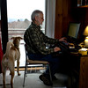 Portraits of Jack and Laney Sammons of Tunbridge, Vt., and their dog, Pon, on January 7, 2011. (Photo by Geoff Hansen)