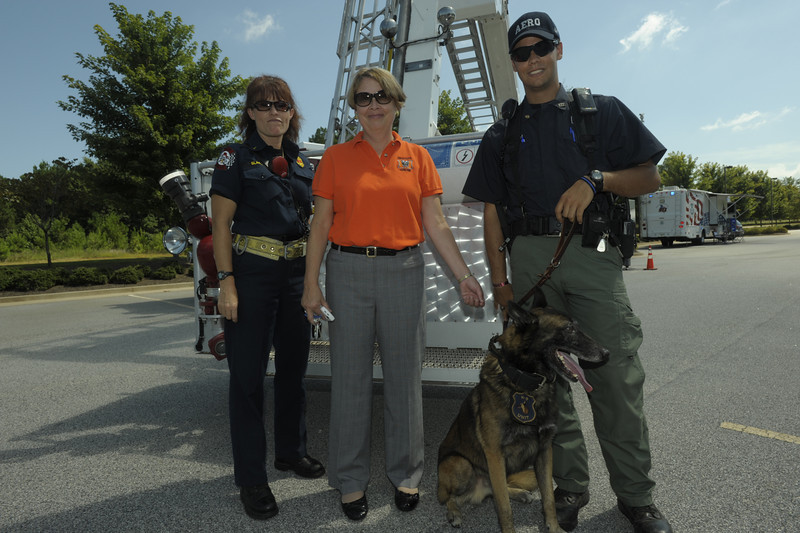Firefighter/EMT Janet Slagle, Dean Priscilla  Danheiser and AERO K-9 officer Cale Crotts