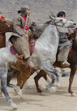 Buzkashi player in action