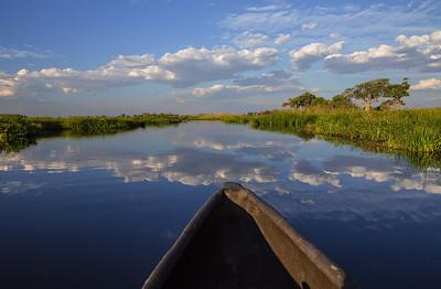Okavango Delta, Botswana A Makoro Canoe goes quietly through the placid waters of the Okavango Delta.