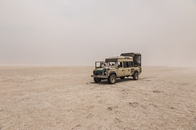 Makgadikgadi Pans, Botswana Severe winds on Nwetwe Pan, one of the Makgadikgadi Pans kicked up a dust and sand storm that made traveling across the pans difficult.