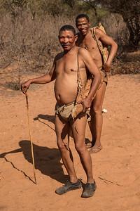 Ghanzi, Botswana Two friendly San Bushmen at Dqae Qare San Lodge near Ghanzi