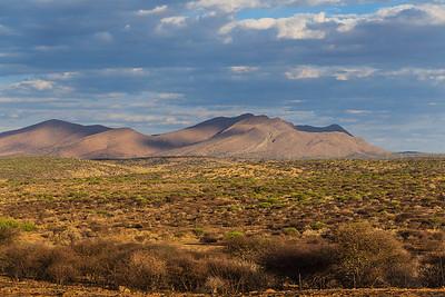 Western Botswana We began to see mountains as we left the Kalahari and got closer to the Namibian border.