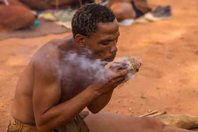 Ghanzi, Botswana A San Bushman has success at starting a fire in Dqae Qare San Lodge near Ghanzi.