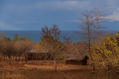 Lake Malawi A couple of rural huts in a village on Lake Malawi.