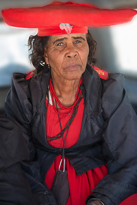 Omaruru, Namibia A woman of the Herero tribe wears the Victorian style dress that was introduced to them by German missionaries in the 18th and 19th centuries.