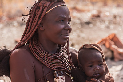 Northern Namibia A Himba woman and her child.