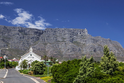 Cape Town, South Africa Table Mountain behind a Moravian Church in Cape Town's infamous  District Six where over 60,000 residents were forcibly removed by the apartheid regime in the 1970s.