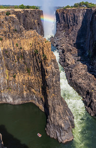 """Victoria Falls, Zambia A view of the """"Boiling Pot"""" and First Gorge at Victoria Falls."""