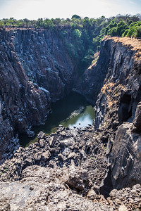 Victoria Falls, Zambia First Gorge has little water during dry season at Victoria Falls.