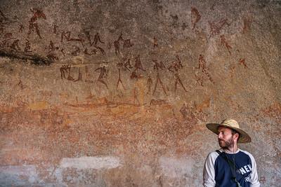 Matobo National Park, Zimbabwe Rock paintings by San Bushmen in Matobo National Park.