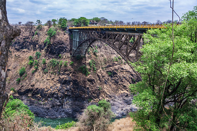 Victoria Falls, Zimbabwe The Victoria Falls Bridge over the Zambezi River. Shot looking down the Second Gorge from the Zimbabwe  side.