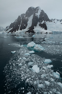 Brash ice in the Lemaire Channel in Antarctica.
