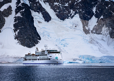 Antarctica: Our expedition ship named Aurora.