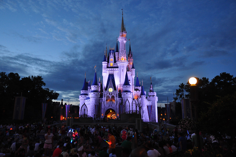 Cinderella's castle at night.