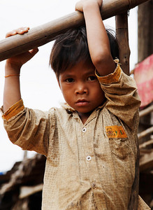near Tonlé Sap Lake, Cambodia A young boy who lives in the fishing village we visited near Tonlé Sap Lake, Cambodia.
