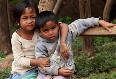 near Tonlé Sap Lake, Cambodia Kids in the fishing village near Tonlé Sap Lake.