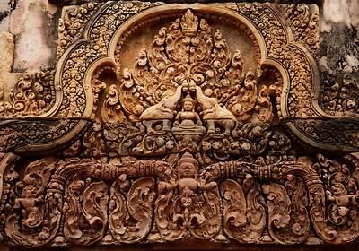 Cambodia Detailed carvings above a doorway at Banteay Srei (Women's Citadel)