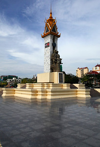 Phnom Penh, Cambodia The Cambodia-Vietnam Friendship Monument in central Phnom Penh. Built after the Cambodian–Vietnamese War in the late 1970s.