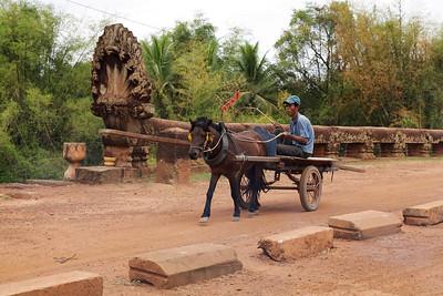 Spean Brab Tes Bridge, Cambodia Horse drawn cart crossing Spean Brab Tes Bridge