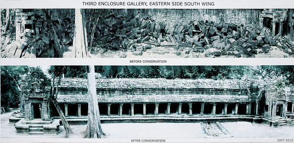 Siem Reap, Cambodia Before and After photo posted at the Third Enclosure Gallery at Angkor's Ta Prohm temple.
