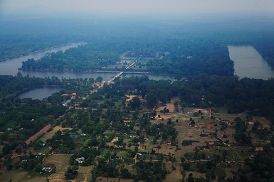 Siem Reap, Cambodia Aerial of Angkor Wat (taken from helicopter over the ruins)