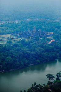 Siem Reap, Cambodia Aerial of Angkor Wat (taken from helicopter over the ruins).