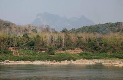 near Luang Prabang, Laos Mekong view approaching Luang Prabang, near Pak Ou Caves.