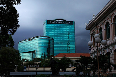 Saigon  (Ho Chi Minh City), Vietnam The Diamond Plaza before an approaching storm in downtown Saigon.
