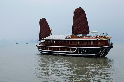 Hạ Long Bay, Vietnam A beautiful junk sailing on Hạ Long Bay.
