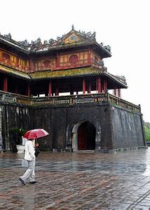 Huế, Vietnam Ngọ Môn gate in Huế on a rainy day.