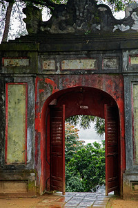 Huế, Vietnam A gate at the Thien Mu Pagoda in Huế. From the gate there is a beautiful view looking down on the Perfume River.