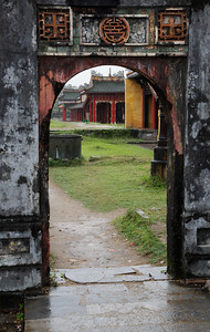 Huế, Vietnam Looking through an archway inside the grounds of the Citadel in Huế.