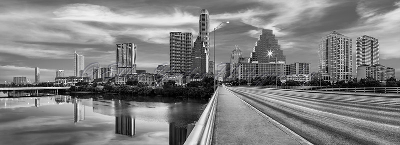 Austin Skyline Panorama (Black and White)