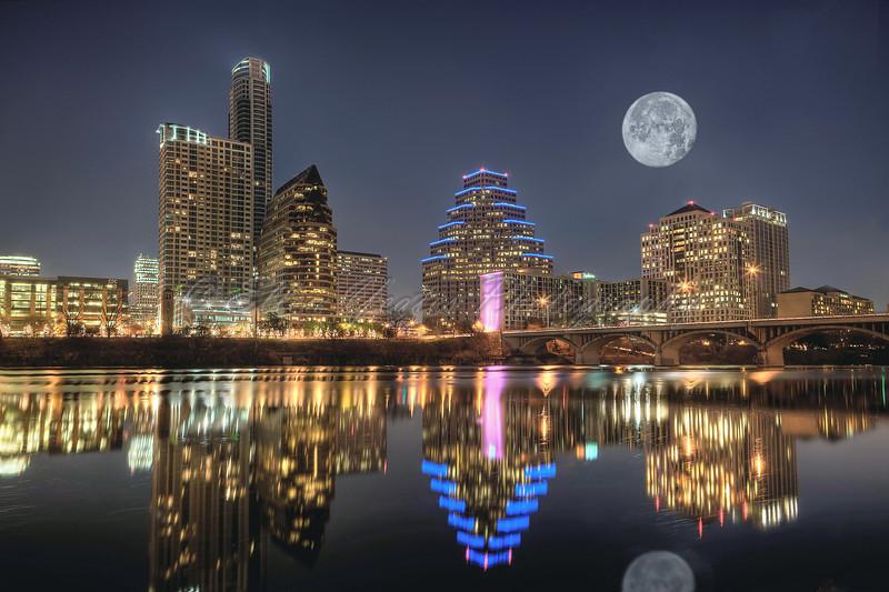Austin Skyline with Moon