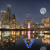 Austin Skyline with Moon