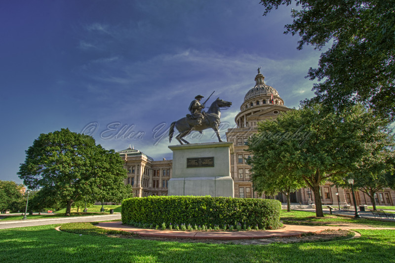 <b>TERRY'S TEXAS RANGERS</b> Erected 1907 by surviving comrades.   The bronze statue, by Pompeo Coppini, portrays one of Terry's Texas Rangers astride a spirited horse. In 1861, during the Civil War, Terry's Texas Rangers were mustered at Houston after Benjamin Terry and Thomas Lubbock's call for volunteers. Ten companies of 100 men each were formally activated as the 8th Texas Cavalry, and during the following five years participated in many engagements defending the Southern Confederacy.