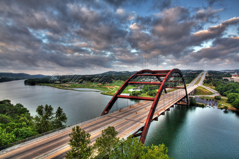 <b>Sunrise - Pennybacker Bridge</b>  This bridge is on Loop 360 around Austin, Texas. The Loop is referred to as the Capital Highway and this is the Capital Bridge or 360 Bridge.   This photo was taken on June 14, 2009 during sunrise.
