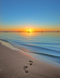 Sunset footprints