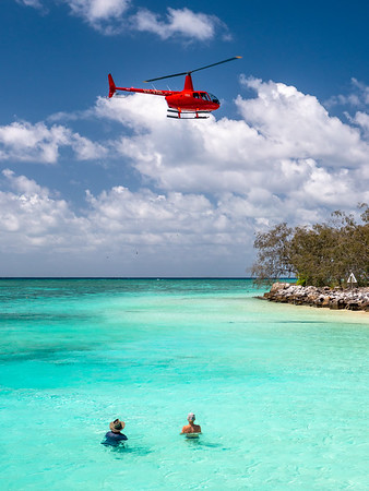 Helicopter arriving at Heron Island
