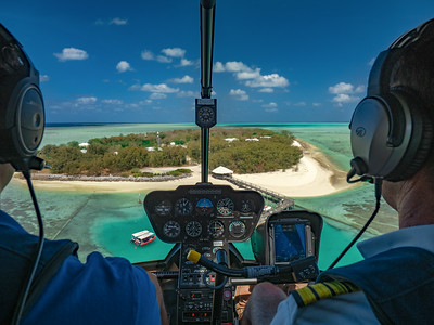 Helicopter flight arriving at Heron Island
