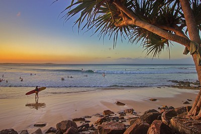 Sunset surf in Noosa