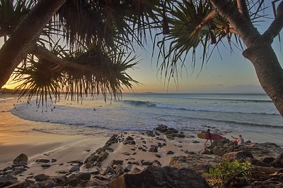 Sunset over Noosa main beach