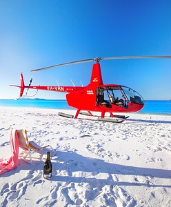 Helicopter picnic on Whitehaven beach
