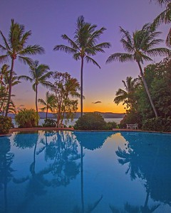 Poolside sunset on Daydream Island
