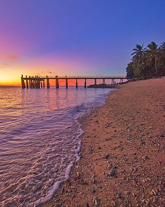 Sunset over Daydream Island jetty