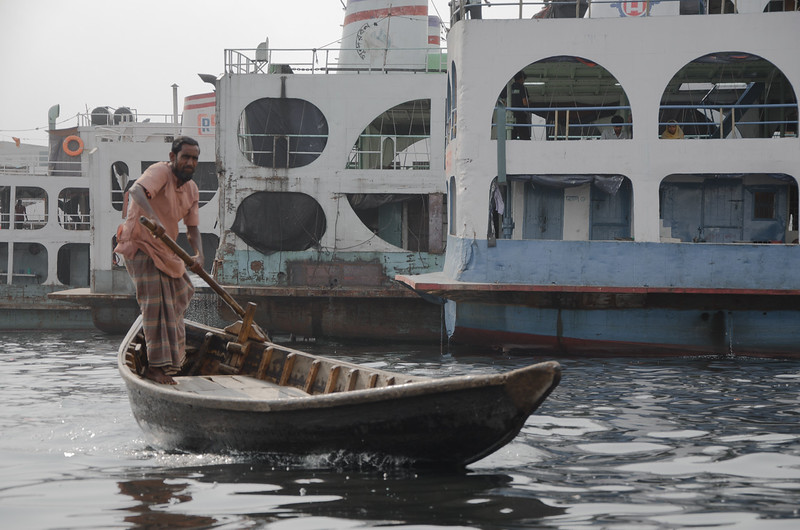 Boat taxi in Sadarghat port, Dhaka